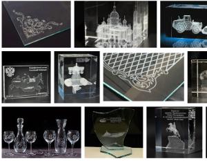 Лазерная гравировка графики на стекле и внутри стекла
