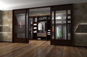 Двери в гардеробную в спальне: монтаж раздвижного механизма, подбор материала