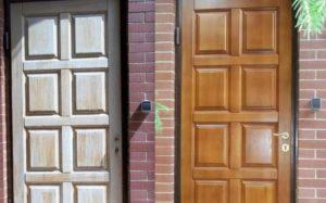 Реставрация входных металлических дверей в квартире: материалы для внешней отделки
